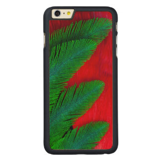 Red And Green Feather Abstract Carved Maple iPhone 6 Plus Case