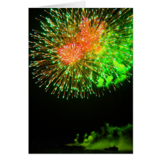 Red and Green Fireworks Greeting Card
