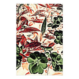 Red And Green Flora Customized Stationery