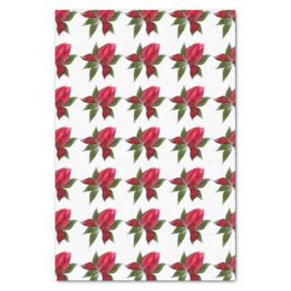 Red and Green Floral on White Tissue Paper