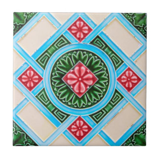 Red And Green Floral Ornamental Small Square Tile