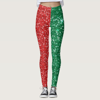 red and green glitter leggings