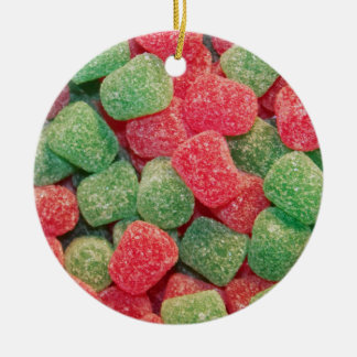 Red and Green Gumdrops Ceramic Ornament