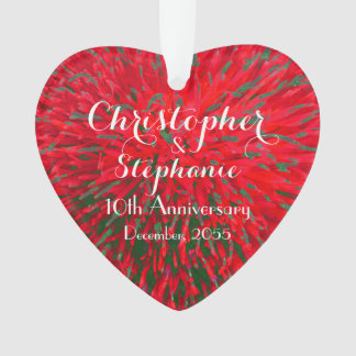 Red and Green Heart Anniversary Christmas Acrylic Ornament