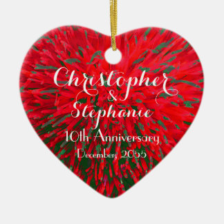 Red and Green Heart Anniversary Christmas Holiday Ceramic Ornament