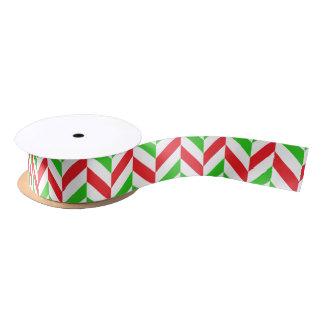 Red and Green Herringbone Pattern Christmas Satin Ribbon