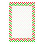 Red and Green Herringbone Pattern Christmas Stationery