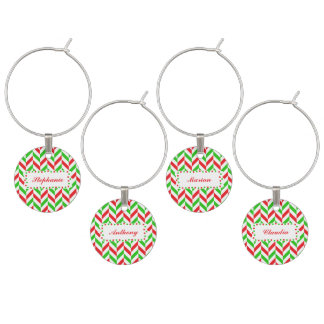 Red and Green Herringbone Pattern Christmas Wine Charms