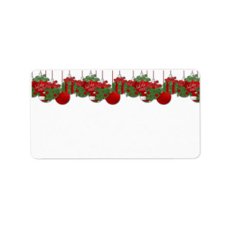 Red and Green Holiday Bells and Ornaments Address  Label