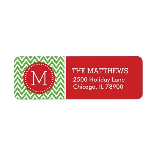 Red and Green Holiday Chevron Monogram Return Address Label