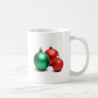 RED AND GREEN HOLIDAY CHRISTMAS ORNAMENTS COFFEE MUGS