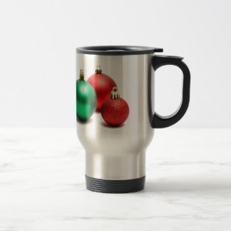 RED AND GREEN HOLIDAY CHRISTMAS ORNAMENTS COFFEE MUG