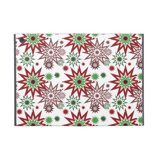 Red and Green Holiday Christmas Snowflakes Pattern iPad Mini Covers