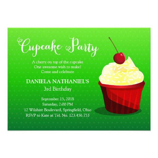 Red and Green Holidays Birthday Cupcake Party Invites