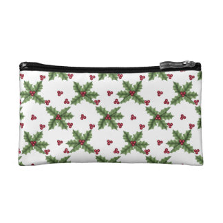 Red and Green Holly and Berry Pattern Holiday Makeup Bag