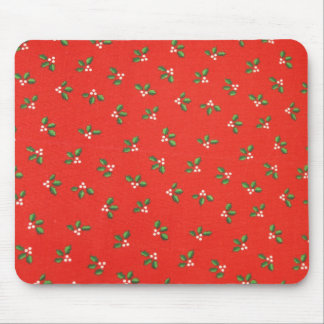 red and green holly mouse pad