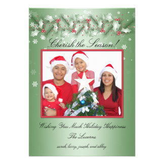 Red and Green Holly, Snowflakes Photo Card