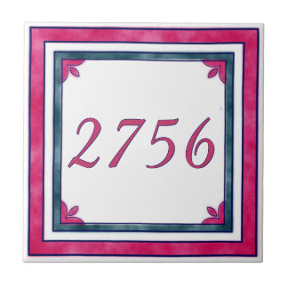 Red and Green House Number Small Square Tile