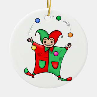 Red and Green Jester Ceramic Ornament