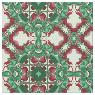 Red and Green Kaleidoscope Pattern #1 Fabric