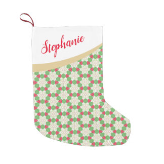 Red and Green Kaleidoscope Style Christmas Pattern Small Christmas Stocking