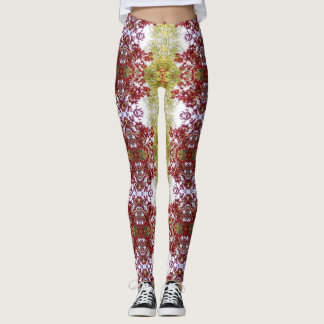 Red And Green Leaves Leggings