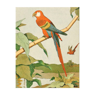 Red-and-Green Macaw Jungle Parrot Gallery Wrap Canvas