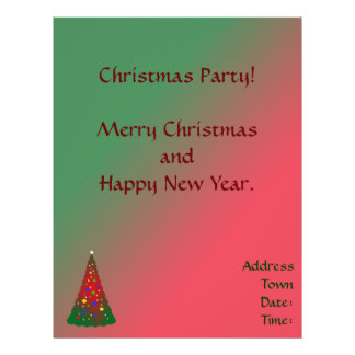 Red and Green Merry Christmas Tree 21.5 Cm X 28 Cm Flyer
