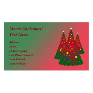 Red and Green Merry Christmas Tree Double-Sided Standard Business Cards (Pack Of 100)