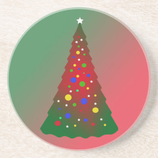 Red and Green Merry Christmas Tree Coasters