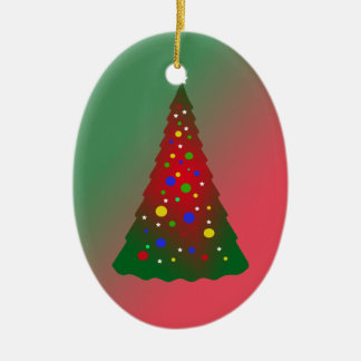 Red and Green Merry Christmas Tree Christmas Ornaments