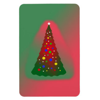Red and Green Merry Christmas Tree Rectangular Photo Magnet