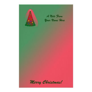 Red and Green Merry Christmas Tree Personalized Stationery