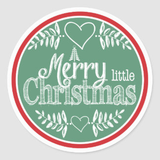 Red and Green Merry Little Christmas Classic Round Sticker