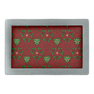 Red and Green Modern Artistic Christmas Pattern Belt Buckles