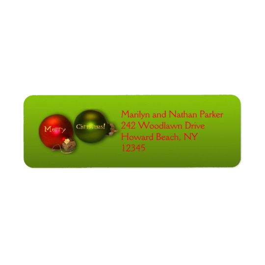 Red and Green Ornament Christmas Address Labels