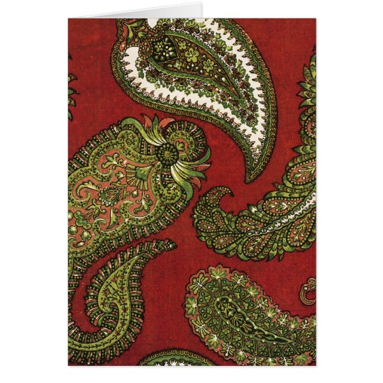 Red and Green Paisley Note Cards