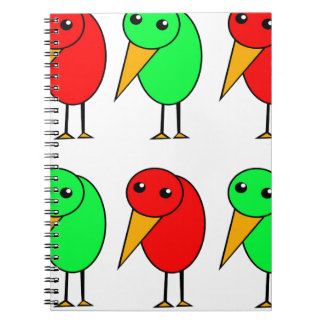 Red and green parrots note books