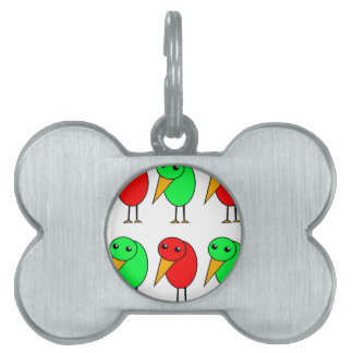 Red and green parrots pet name tag