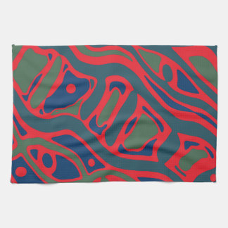 Red and green pattern hand towels