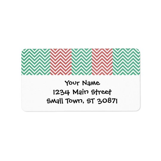 Red and Green Personalised Chevron Zig Zags Label