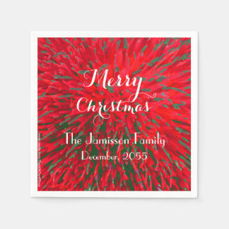 Red and Green Personalized Merry Christmas Party Disposable Napkin