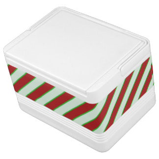 Red and Green Pinstriped Pattern Cooler