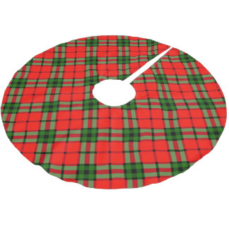 Red and green plaid pattern christmas brushed polyester tree skirt