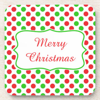 Red and Green Polka Dot Pattern Christmas Coaster