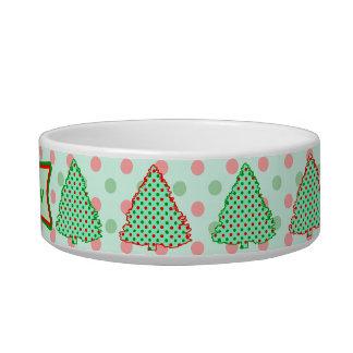 Red and Green Polka Dot Tree Cat Bowl