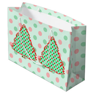 Red and Green Polka Dot Tree Large Gift Bag