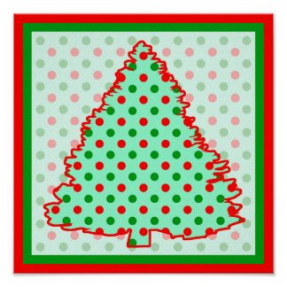 Red and Green Polka Dot Tree Poster
