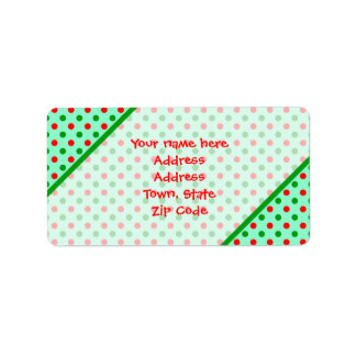 Red and Green Polka Dots Address Label