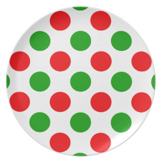 Red and Green Polka Dots Dinner Plates